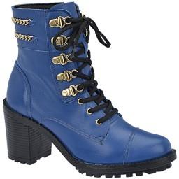 Bota Feminina Salto Tratorado De Bonna - 507 Azul