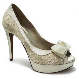 Peep Toe para Noivas Belmon - 13142 - Em Renda Off White - 33 ao 43