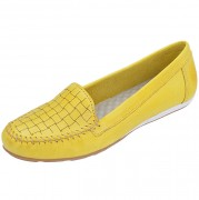 Mocassim Feminino Numeração Especial Annda - 06 Amarelo