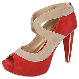 Peep Toe Feminino Salto Alto Vermelho Belmon - 13143 - 33 a 43