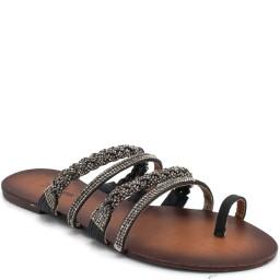 Rasteira Com Tiras de Strass Zariff Shoes - 704
