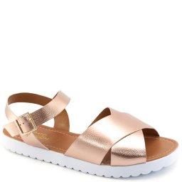 Sandália Rasteira Metalizada Sapato Show 11317