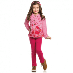 Agasalho Elian Infantil Menina Casaco Floral Poa 30902