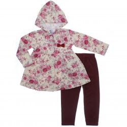 Agasalho Pulla Bulla Infantil Sobretudo Floral Laço 31220