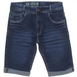 Bermuda Jeans Akiyoshi Juvenil Menino Barra Virada Bigode 30454