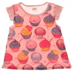 Blusa Infantil Menina Elian Cupcakes Recorte Ombro 29296
