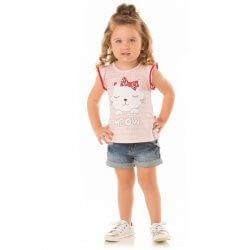 Blusa Infantil Menina Livy Gatinha Laço MEOW 31798