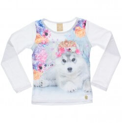 Blusa Manga Longa Colorittá Cachorra Flores 31018