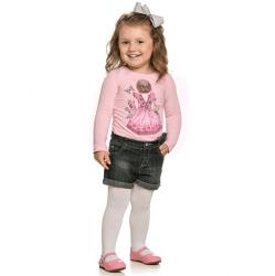 Blusa Manga Longa Infantil Elian Estampa Boneca Vestido 30893