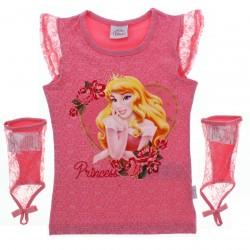 Blusa Princesas Disney Infantil Menina Manga e Luva Renda