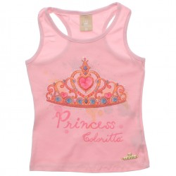 Blusa Regata Infantil Colorittá Coroa Princess 30569