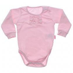 Body Longo Paraíso Bebê Menina em Cotton Babado Laço Cetim 31694