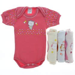 Body Kit Petutinha Beb� Menina c/3 Curto Urso Cora��o 27427