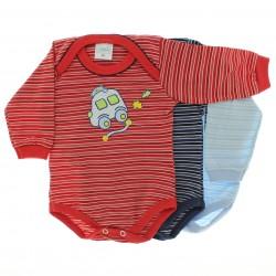 Body Kit Petutinha Bebê Menino c/3 Longo Carro Botão Listras
