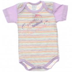 Body Petutinha Bebê Menina Curto Listrado Frases 29876