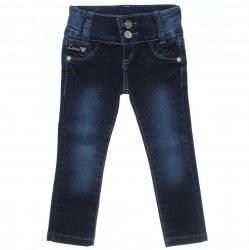 Calça Jeans Akiyoshi Infantil Menina Botão Duplo Coração Love 31400