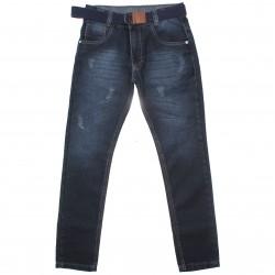 Calça Jeans Akiyoshi Juvenil Menino Puido e Cinto 30456