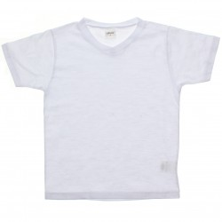 Camiseta Infantil Elian Menino Lisa Básica Decote V Flamê 30751