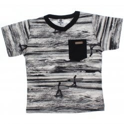 Camiseta Infantil Time Kids Estampada Surf e Bolso 31837