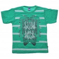 Camiseta Infanto Juvenil Livy Summer Listras Folhas 31819