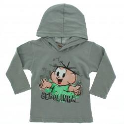 Camiseta Manga Longa Cebolinha Infantil Menino Capuz 27941