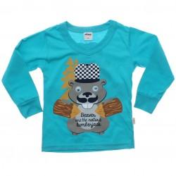 Camiseta Manga Longa Elian Infantil Castor Frente e Costas 30984