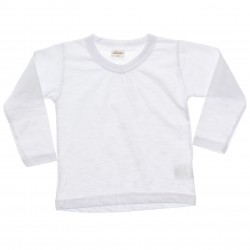 Camiseta Manga Longa Elian Infantil Gola V  Lisa 30991