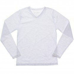 Camiseta Manga Longa Juvenil Rovitex Lisa Flamê Decote V 31041