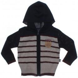 Cardigan Pulla Bulla Infantil Menino Tricot Listrado Capuz 31228