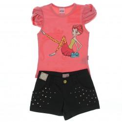 Conjunto Alakazoo Infantil Menina Shorts Sarja Lantejoula
