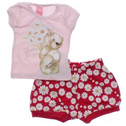 Conjunto Bebê Menina Livy Urso Flores Shorts Floral 31792