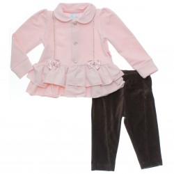 Conjunto Bebê Paraíso Menina Calça Casaco Molecotton Laço 31143