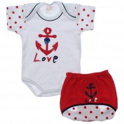 Conjunto Body e Shorts Bebê Petutinha Menina Âncora 31861