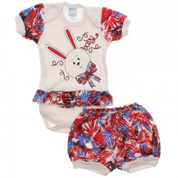 Conjunto Body e Shorts Bebê Petutinha Menina Coelha Laço 30546