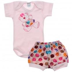 Conjunto Body e Shorts Bebê Petutinha Menina Ursa Laço 30480