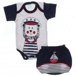 Conjunto Body e Shorts Bebê Petutinha Menino Leão Marinheiro 31862