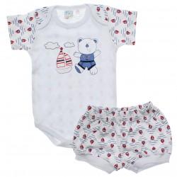 Conjunto Body e Shorts Bebê Petutinha Menino Marinheiro 30543