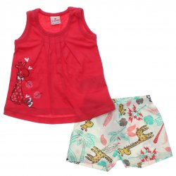 Conjunto Brandili Bebê Menina Shorts Floral Girafa 31436