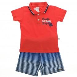Conjunto Brandili Bebê Polo Ocean e Bermuda Listrada 28610