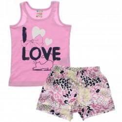Conjunto Brandili Club Infantil Menina I love Shorts 29984