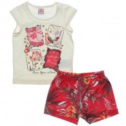 Conjunto Brandili Infantil Menina Shorts Floral e Passarinhos 31425