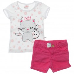 Conjunto Brandili Infantil Menina Shorts Sarja Gatinha 29939