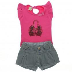 Conjunto Have Fun Infantil Menina Shorts Jeans Bolsa Strass
