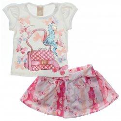 Conjunto Infantil Colorittá Bolsa Borboletas Saia Shorts 31597