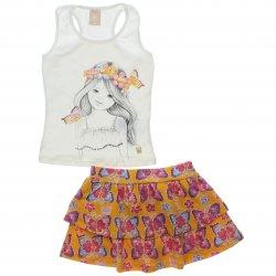 Conjunto Infantil Colorittá Estampa Boneca Coroa Flores 31508