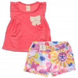 Conjunto Infantil Coloritta Menina Laço Shorts Floral 30099
