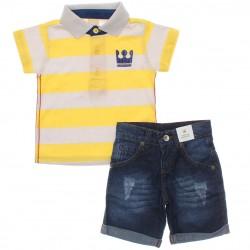 Conjunto Infantil Coloritta Menino Polo Listrada Jeans 30103