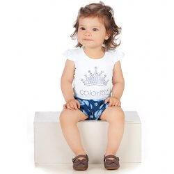 Conjunto Infantil Colorittá Shorts Bolas e Blusa Coroa 31611