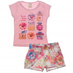 Conjunto Infantil Colorittá Shorts Estampado e Blusa Perfumes 31507