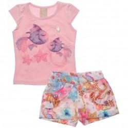 Conjunto Infantil Colorittá Shorts Estampado Peixes 30563